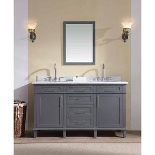 Ari Kitchen and Bath Newport Grey Wood/Marble 60-inch Double Bathroom Vanity Set