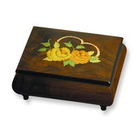 Versil Ercolano Floral and Heart Inlay Brown Music Box