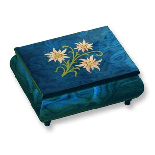 Blue Floral Inlay and Handcrafted Wood with Velvet Musical Box