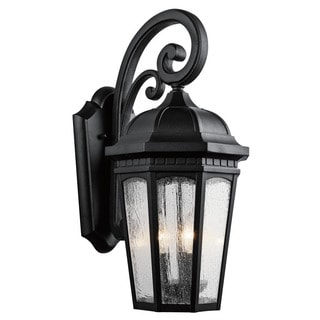 Kichler Lighting Courtyard Collection 3-light Textured Black Outdoor Wall Lantern