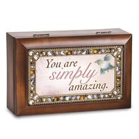 Versil You Are Simply Amazing Brown Woodgrain Jeweled Music Box