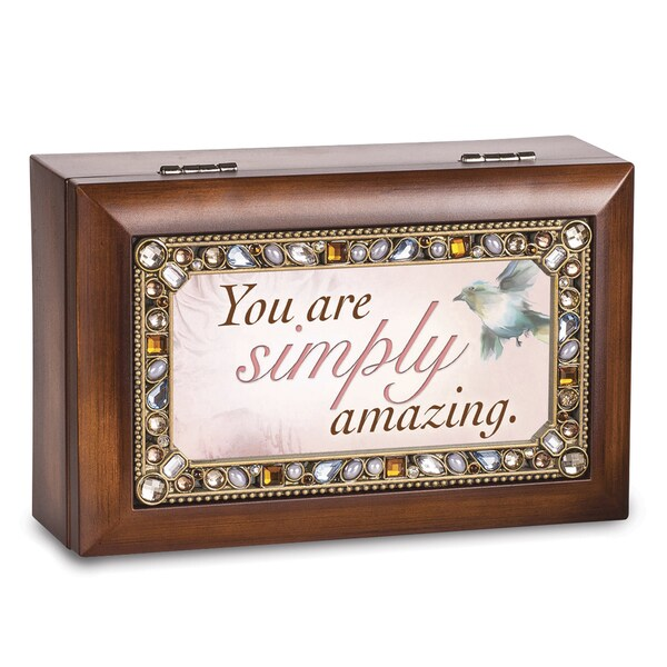 Versil You Are Simply Amazing Brown Woodgrain Jeweled Music Box