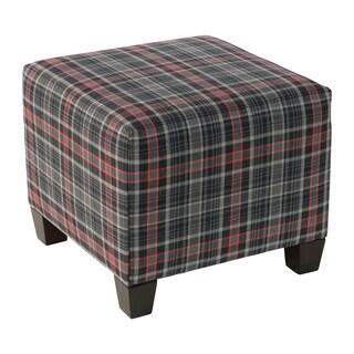 Skyline Furniture Neo Plaid Black Polyester/Polyurethane/Pine Square Ottoman