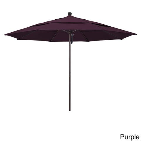 California Umbrella 11' Rd Aluminum Frame, Fiberglass Rib Market Umbrella, Push Open, Bronze Finish, Pacifica Fabric