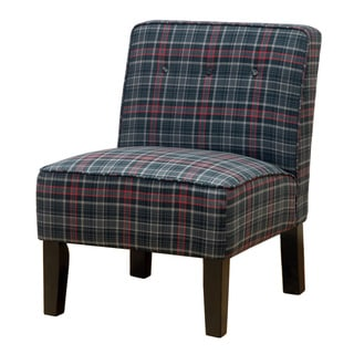 Skyline Furniture Espresso/Neo Plaid Black Polyurethane/Polyester/Pine Buttons Armless Chair