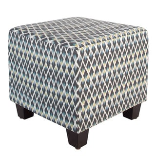 Skyline Furniture Multicolored Cotton Square Geometric Patterned Ottoman