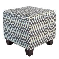 Skyline Furniture Multicolored Cotton Square Geometric-patterned Ottoman
