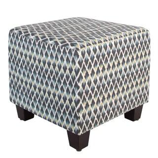 Skyline Furniture Multicolored Cotton Square Geometric-patterned Ottoman