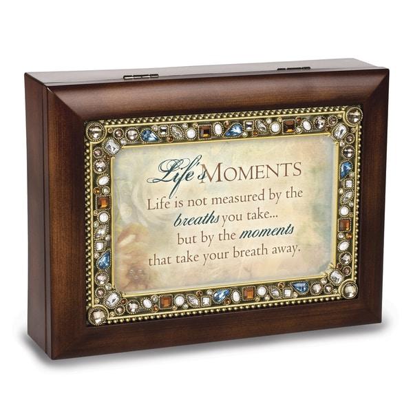 Versil Lifes Moments Jeweled Woodgrain Music Box