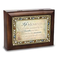 Versil Lifes Moments Jeweled Woodgrain Music Box