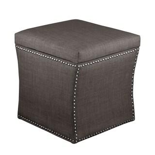 Skyline Furniture Marlow Asphalt/Pewter Polyurethane/Polyester/Pine Nail Button Storage Ottoman