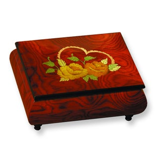Versil Red Floral and Heart Inlay Music Box