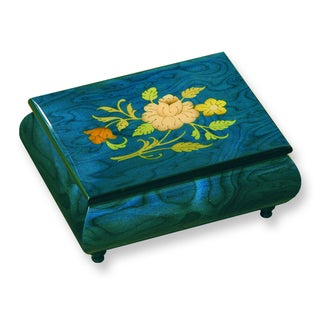 Versil Blue Floral Inlay Music Box