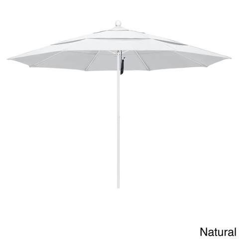 California Umbrella 11' Rd Aluminum Frame, Fiberglass Rib Market Umbrella, Push Open, White Finish, Olefin Fabric