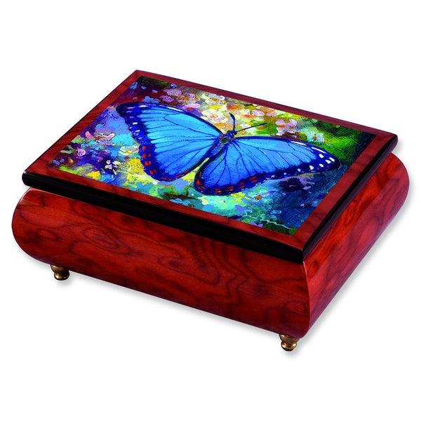 Versil Simon Bull 'Blue Morpho' Brown Wood Music Box