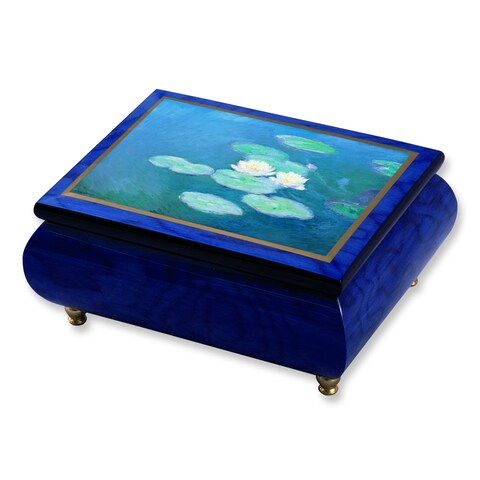 Versil Monet 'Water Lilies' Masterpiece Blue Wood Music Box