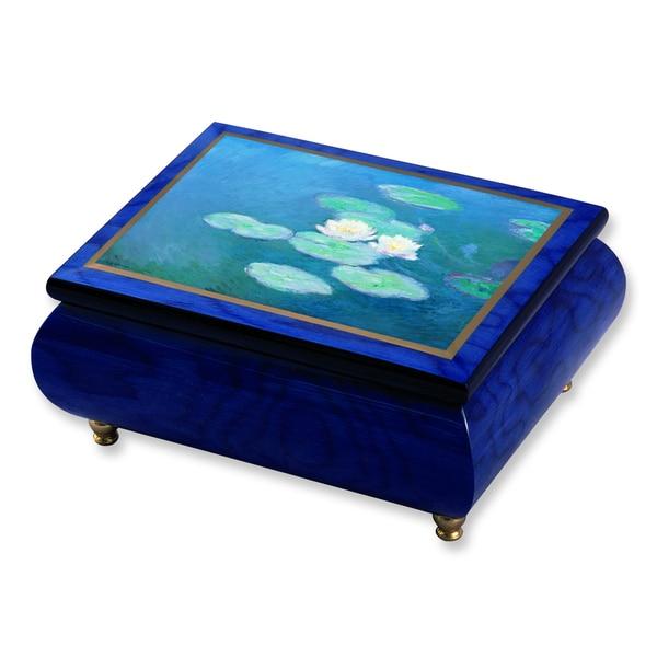 Versil Monet 'Water Lilies' Masterpiece Blue Wood Music Box