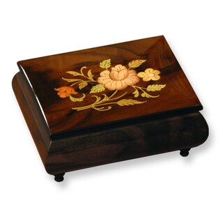Brown Handcrafted Wood Velvet Lining Floral Inlay Music Box by Versil