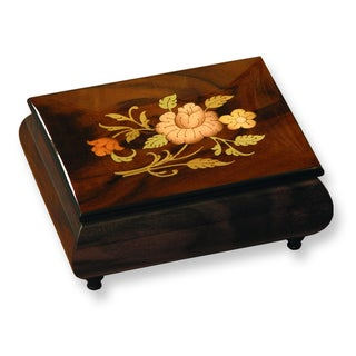 Versil Brown Wood Floral Inlay Music Box