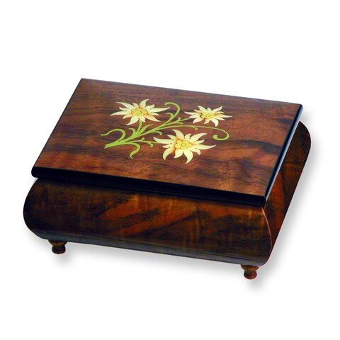 Versil Ercolano Music Boxes Brown Wood Floral Inlay Music Box