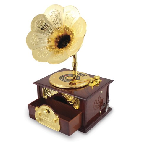 Versil Gold/Brown Plastic Vintage Record Player Music Box