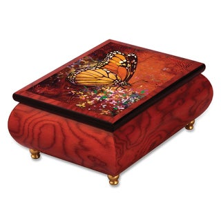 Artist Simon Bull Multi-color Butterfly Velvet Lining Music Box by Versil