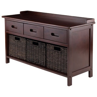 Winsome Adriana Antique Walnut Wood 4-piece Storage Bench Set with 3 Foldable Corn Husk Baskets