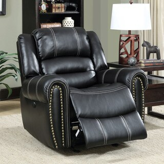 Furniture of America Dylan Black Leatherette Power-Assist Recliner