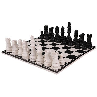 Bramble Co. Gentlemen's Club Black/ White Heavy Distressed Mahogany Chess Set