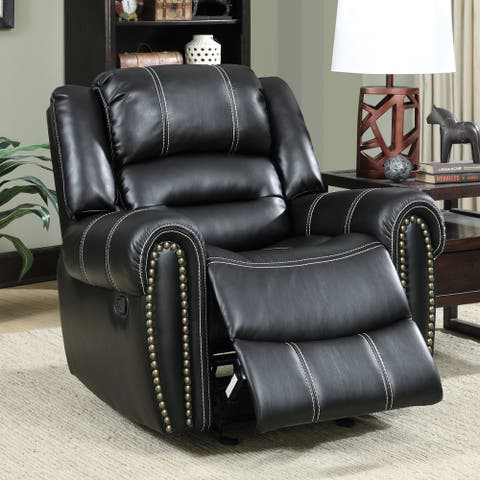 Furniture of America Mupa Contemporary Black Manual Recliner