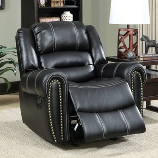 Furniture of America Dylan Black Leatherette Glider Recliner