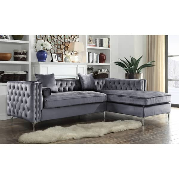 Shop Chic Home Monet Button Tufted Sectional Sofa - On Sale ...
