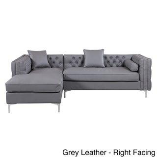 Chic Home Da Vinci Button Tufted with Silver Nailhead Trim Chrome Metal Y-leg Sectional Sofa