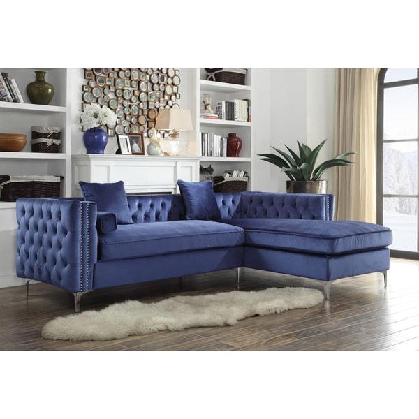 chic home da vinci button tufted with silver nailhead trim chrome metal yleg sectional - Nailhead Sofa