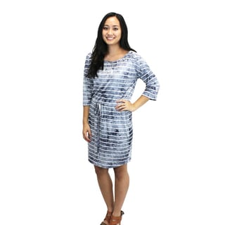 Relished Women's Blue/White Rayon/Spandex Knee-Length Dress