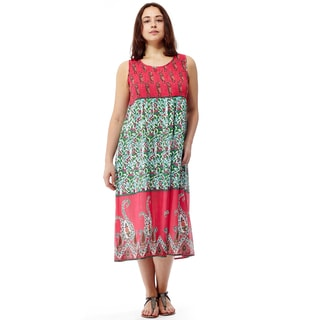 La Cera Women's Pink/Green Cotton Sleeveless Smocked Bodice Long Dress