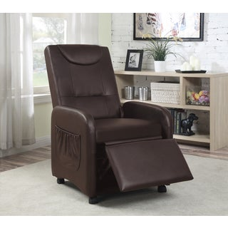 Hodedah Black/Brown Synthetic Leather Recliner Chair (Option: Black)