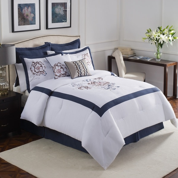 Aloura Embroidered 8-piece Comforter Set