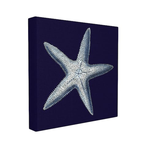 Stupell Distressed Navy and White Starfish Stretched Canvas Wall Art