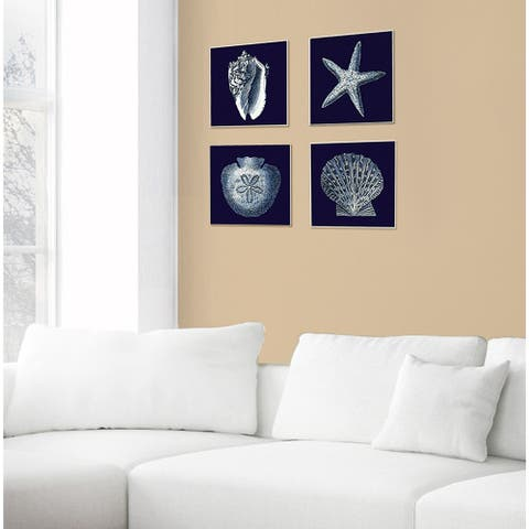 Distressed Navy and White Sand Dollar Wall Plaque Art