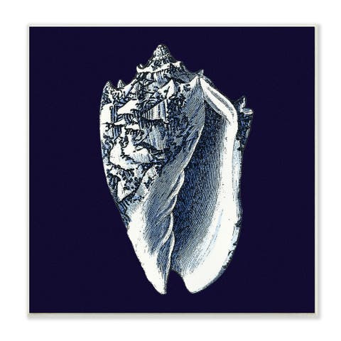 Stupell Prints Distressed Navy and White Conch Shell Wall Art Print
