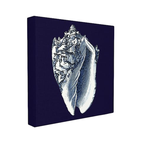 Stupell Distressed Navy/White Conch Shell Stretched Canvas Wall Art