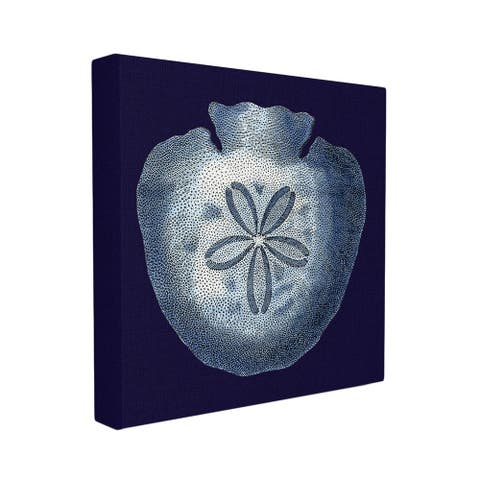 Distressed Navy and White Sand Dollar Canvas Wall Art