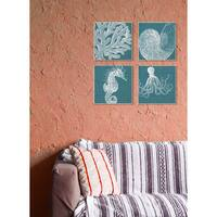 'Seahorse' Distressed White and Teal Stretched Canvas Wall Art