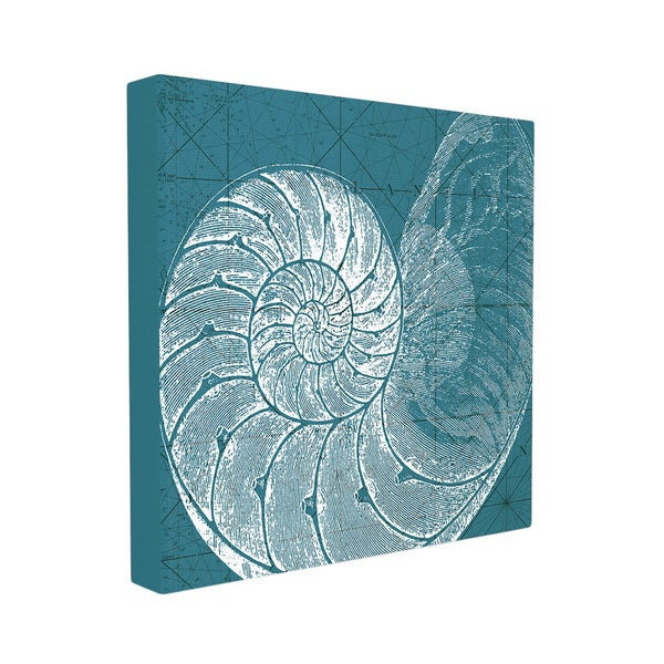 Distressed Sea and Shore White/Teal Square Wall Art Canvas