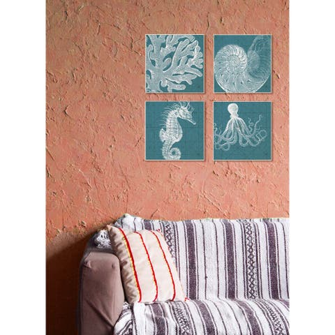 Stupell Distressed White/Teal Coral Stretched Canvas Wall Art