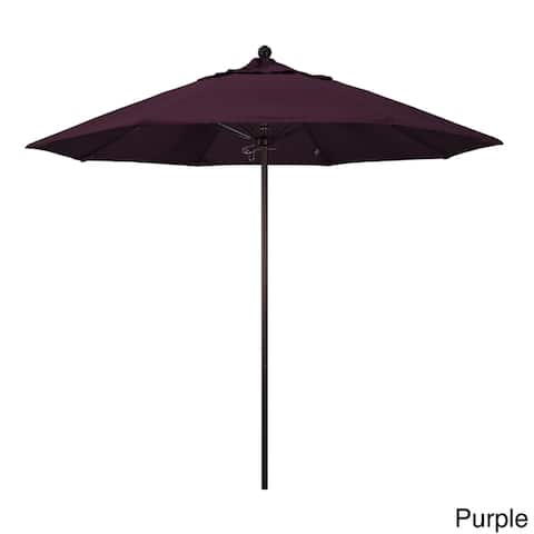 California Umbrella 9' Rd. Aluminum Frame, Fiberglass Rib Market Umbrella, Push Open, Bronze Finish, Pacifica Fabric