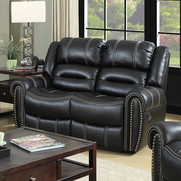 Shop Furniture Of America Dylan Black Leatherette