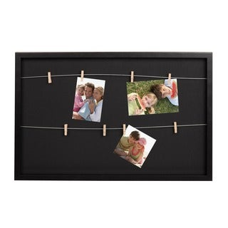 Tweden Black Wood 25 x 16.5 x 1.5-inch Wire with Clothespin Clips Wall Frame Organizer