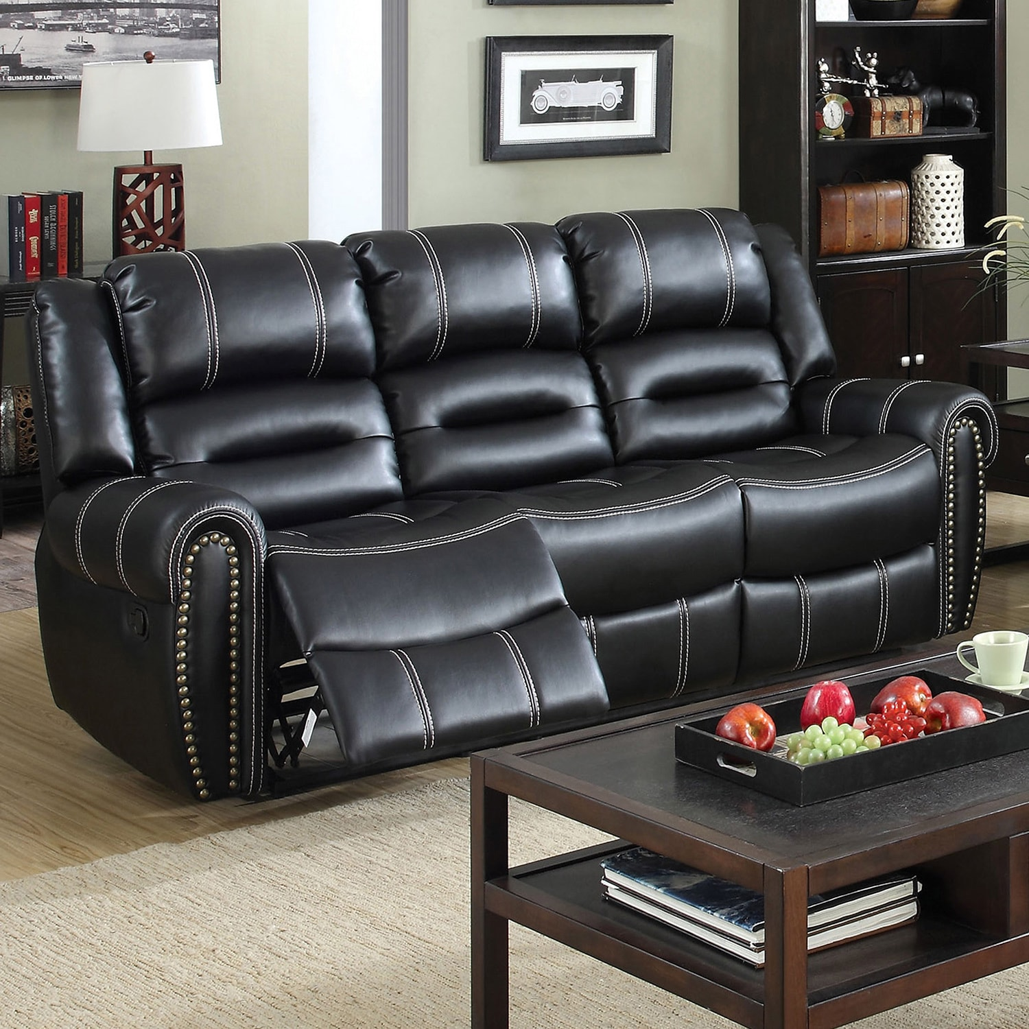 Furniture of America Dylan Black Leatherette Reclining So...